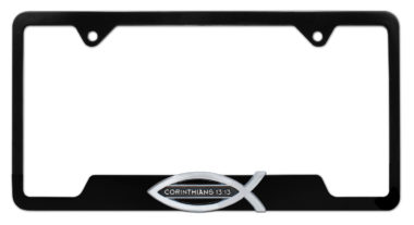Christian Fish Corinthians 13:13 Black Open License Plate Frame