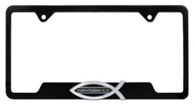 Christian Fish Corinthians 13:13 Black Open License Plate Frame image
