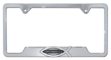 Christian Fish Corinthians 13:13 Chrome Open License Plate Frame
