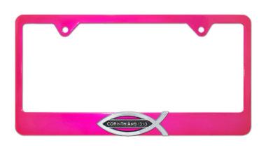 Christian Fish Corinthians 13:13 Pink License Plate Frame