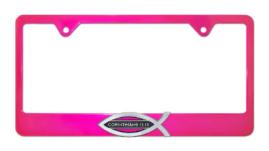 Christian Fish Corinthians 13:13 Pink License Plate Frame image
