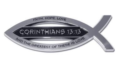 Christian Fish Corinthians 13:13 Verse Chrome Emblem image