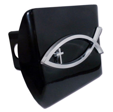 Christian Fish Cross Emblem on Black Hitch Cover
