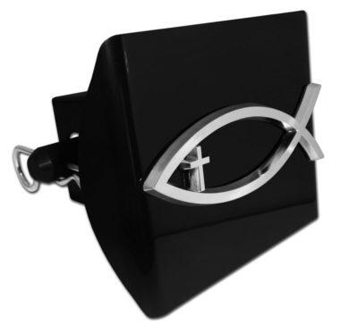 Christian Fish Cross Black Plastic Hitch Cover image