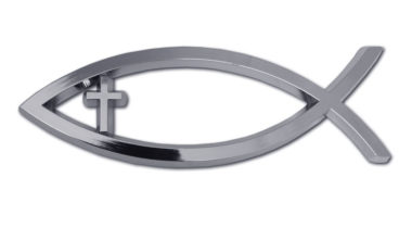 Christian Fish Cross Chrome Emblem