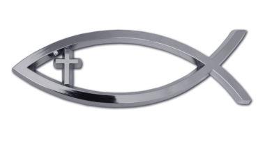 Christian Fish Cross Chrome Emblem image