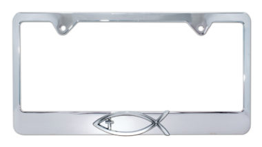 Christian Fish Cross Chrome License Plate Frame