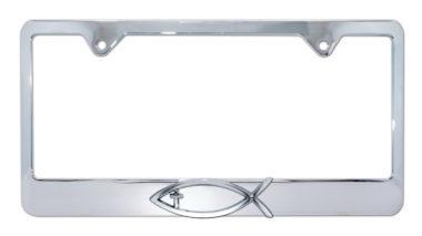Christian Fish Cross Chrome License Plate Frame