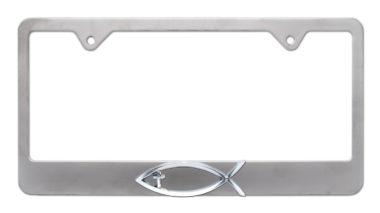 Christian Fish Cross Brushed License Plate Frame