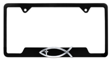 Christian Fish Cross Black Open License Plate Frame
