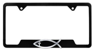 Christian Fish Cross Black Open License Plate Frame