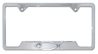 Christian Fish Cross Chrome Open License Plate Frame