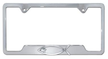 Christian Fish Cross Chrome Open License Plate Frame