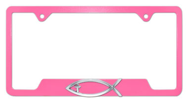 Christian Fish Cross Pink Open License Plate Frame