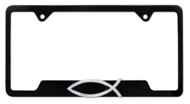 Christian Fish Crystal Black Open License Plate Frame