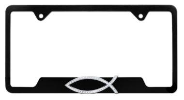 Christian Fish Crystal Black Open License Plate Frame