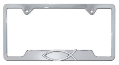 Christian Fish Crystal Chrome Open License Plate Frame