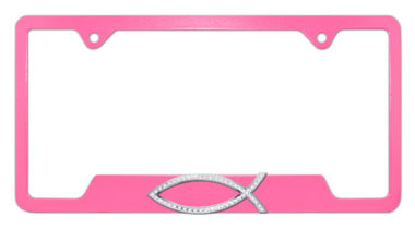 Christian Fish Crystal Pink Open License Plate Frame