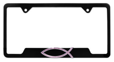 Christian Fish Pink Crystal Black Open License Plate Frame