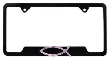 Christian Fish Pink Crystal Black Open License Plate Frame