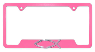 Christian Fish Pink Crystal Pink Open License Plate Frame image