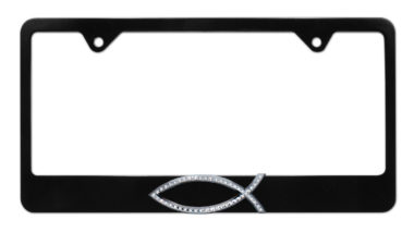 Christian Fish Crystal Black License Plate Frame
