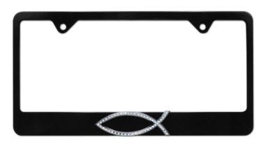 Christian Fish Crystal Black License Plate Frame image