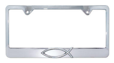Christian Fish Crystal Chrome License Plate Frame
