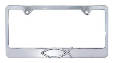 Christian Fish Crystal Chrome License Plate Frame