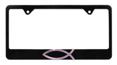 Christian Fish Pink Crystal Black License Plate Frame