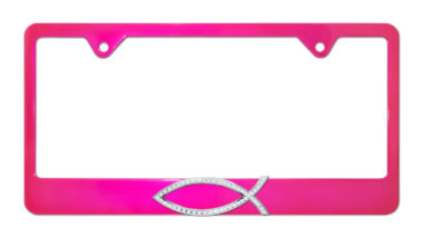 Christian Fish Crystal Pink License Plate Frame
