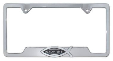 Christian Fish Isaiah 40:31 Chrome Open License Plate Frame image