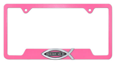 Christian Fish Isaiah 40:31 Pink Open License Plate Frame