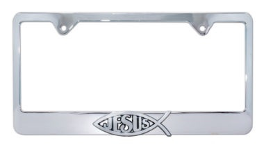 Christian Fish Jesus Chrome License Plate Frame