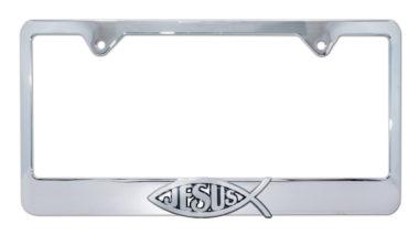 Christian Fish Jesus Chrome License Plate Frame