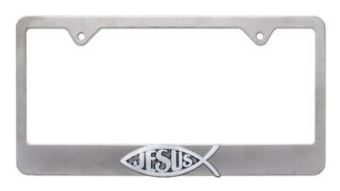 Christian Fish Jesus Brushed License Plate Frame
