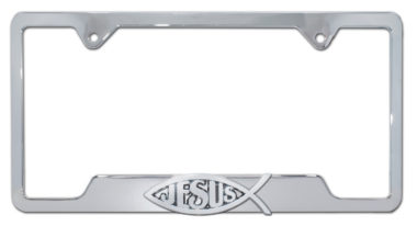 Christian Fish Jesus Chrome Open License Plate Frame image