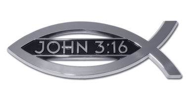 Christian Fish John 3:16 Chrome Emblem