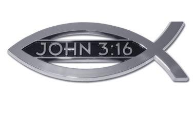 Christian Fish John 3:16 Chrome Emblem
