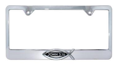 Christian Fish John 3:16 Chrome License Plate Frame