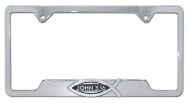 Christian Fish John 3:16 Chrome Open License Plate Frame