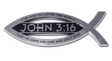 Christian Fish John 3:16 Verse Chrome Emblem