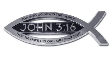 Christian Fish John 3:16 Verse Chrome Emblem