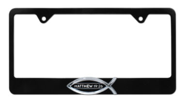 Christian Fish Matthew 19:26 Black License Plate Frame