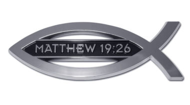 Christian Fish Matthew 19:26 Chrome Emblem
