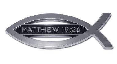 Christian Fish Matthew 19:26 Chrome Emblem