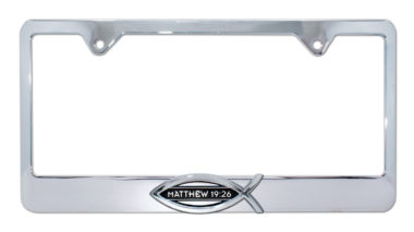 Christian Fish Matthew 19:26 Chrome License Plate Frame