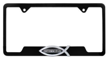 Christian Fish Matthew 19:26 Black Open License Plate Frame