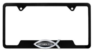 Christian Fish Matthew 19:26 Black Open License Plate Frame