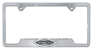 Christian Fish Matthew 19:26 Chrome Open License Plate Frame